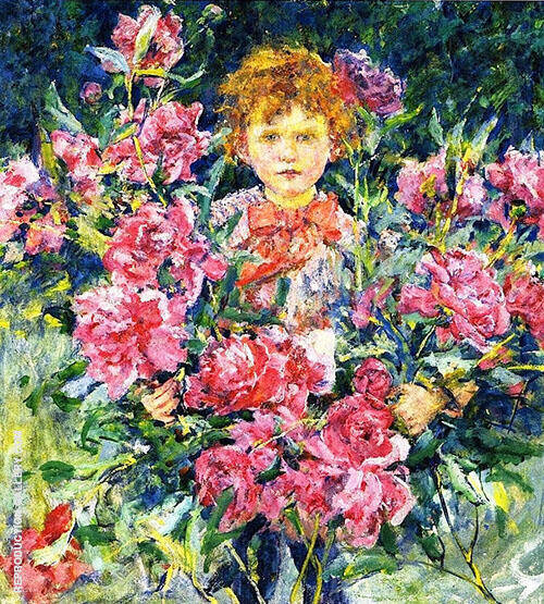 Boy with Red Peonies 1910 By Robert Lewis Reid
