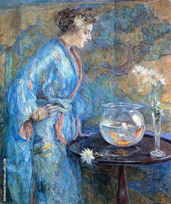 Girl in Blue Kimono By Robert Lewis Reid