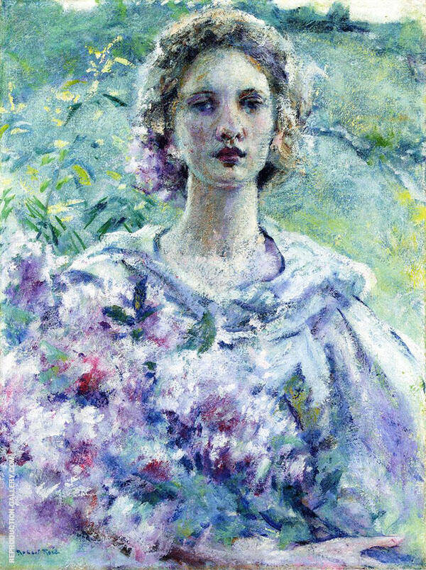 Girl with Flowers Painting By Robert Lewis Reid - Reproduction Gallery