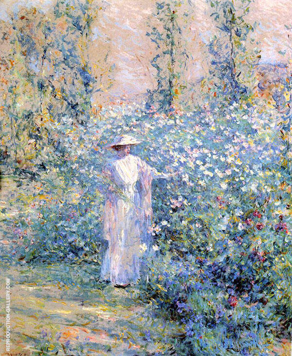 In The Flower Garden 1900 By Robert Lewis Reid Replica Paintings on Canvas - Reproduction Gallery