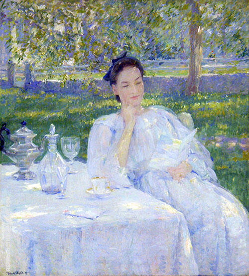 In The Garden By Robert Lewis Reid Replica Paintings on Canvas - Reproduction Gallery