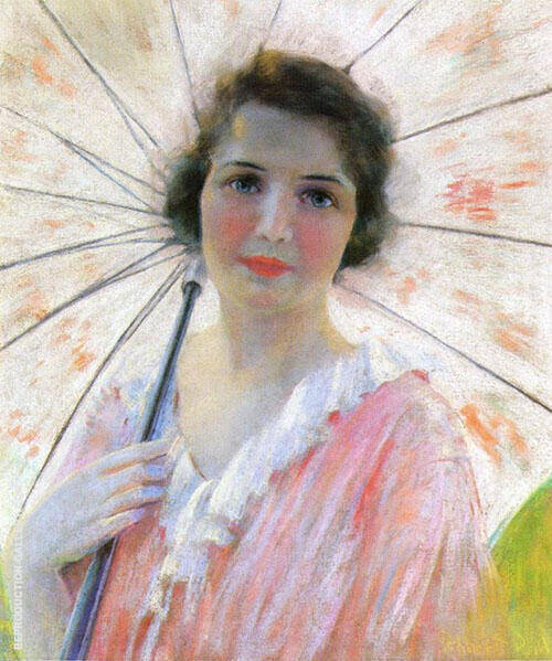 Lady with Umbrella Painting By Robert Lewis Reid - Reproduction Gallery