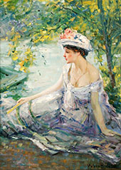 Summer Reverie Young Woman at Ease on a Riverbank By Robert Lewis Reid