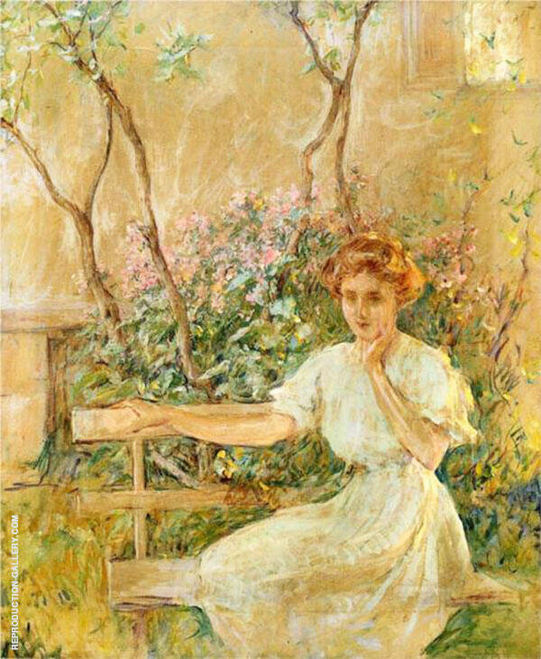 The Garden Seat 1911 Painting By Robert Lewis Reid - Reproduction Gallery