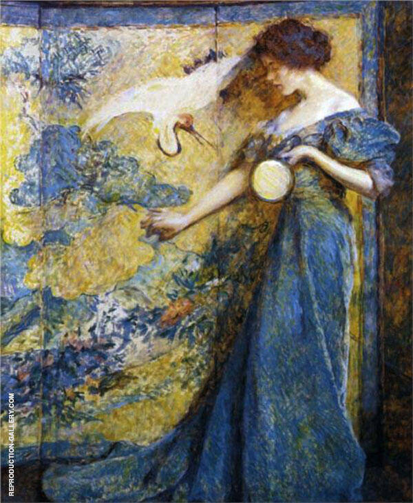 The Mirror Painting By Robert Lewis Reid - Reproduction Gallery