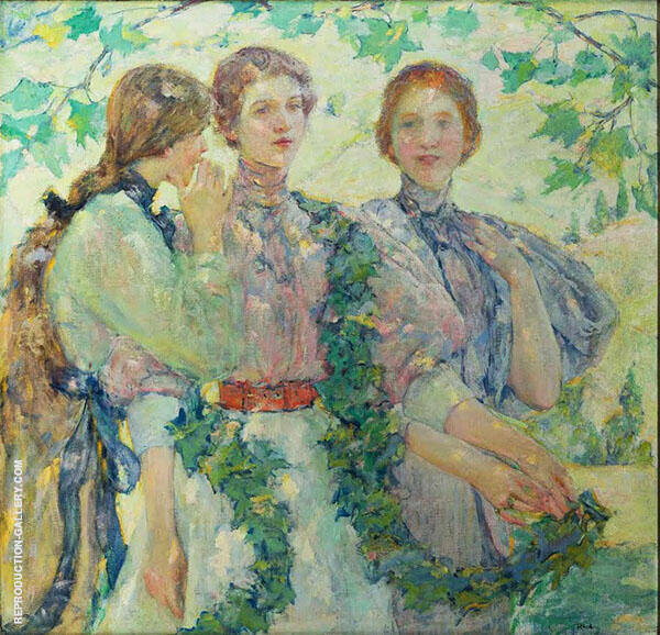 The Trio 1898 By Robert Lewis Reid Replica Paintings on Canvas - Reproduction Gallery