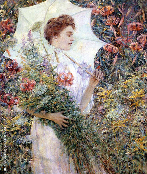 The White Parasol Painting By Robert Lewis Reid - Reproduction Gallery