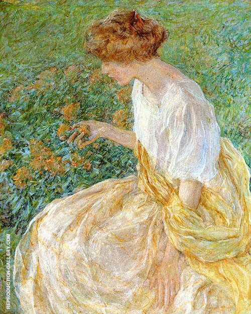 The Yellow Flower aka The Artists Wife in The Garden By Robert Lewis Reid