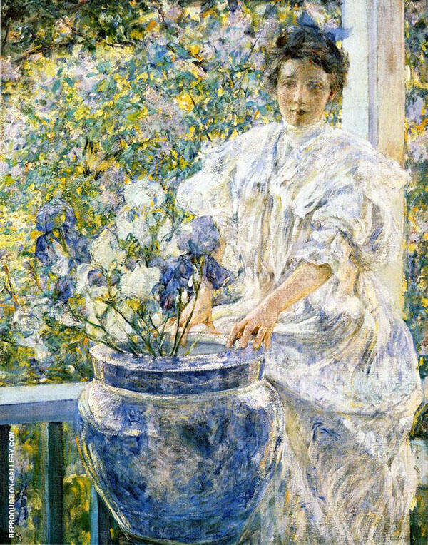Woman on a Porch with Flowers Painting By Robert Lewis Reid