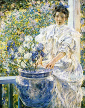 Woman on a Porch with Flowers By Robert Lewis Reid