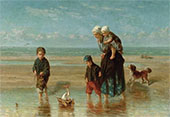 Mother and Children by The Shore 1824 By Jozef Israels