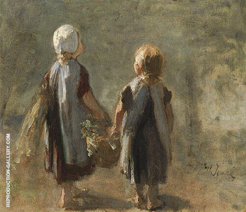 Two Girls Holding a Basket By Jozef Israels