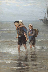Children in The Breakers By Jozef Israels
