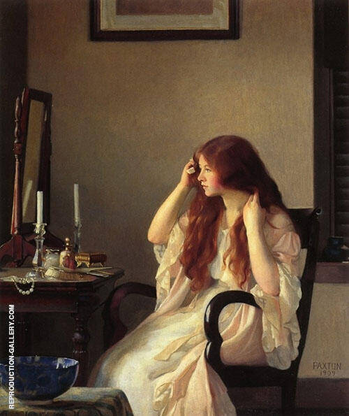 Girl Combing Her Hair 1909 By William M Paxton