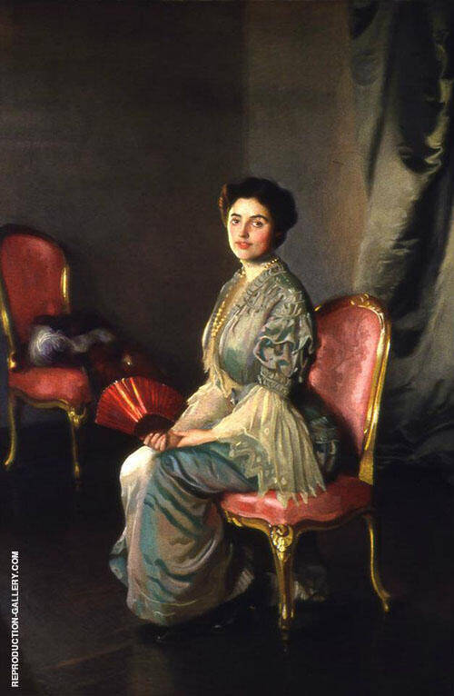 The Red Fan 1906 Painting By William M Paxton - Reproduction Gallery