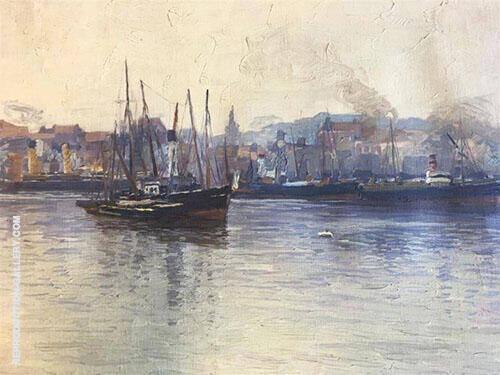 Harbor Scene By Edward Willis Redfield