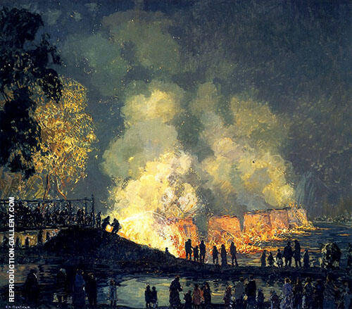 The Burning of Center Bridge 1923 By Edward Willis Redfield