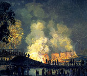 The Burning of Center Bridge 1923 By Edward Willis Redfield