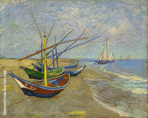 Fishing Boats on the Beach at Saintes Maries 1888 By Vincent van Gogh