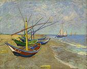 Fishing Boats on the Beach at Saintes Maries 1888 By Vincent van Gogh