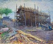 Noank Shipyard 1912 By Edmund William Greacen