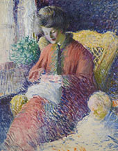 Sewing 1908 By Edmund William Greacen