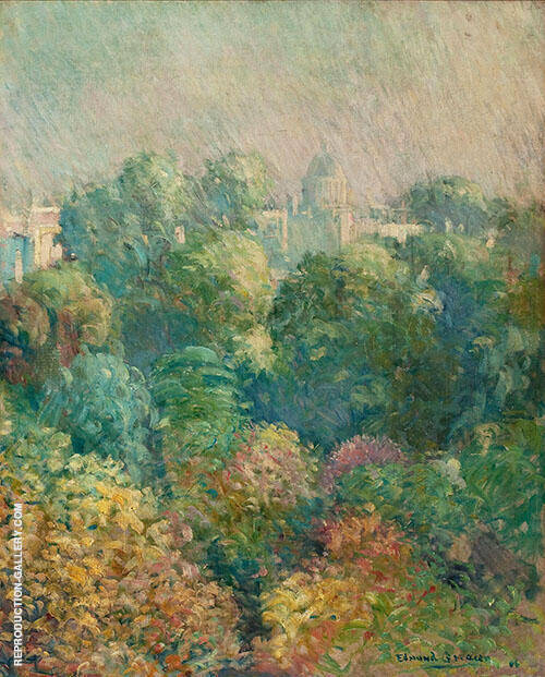 Tree Tops from Boulevard Raspail Paris 1906 By Edmund William Greacen