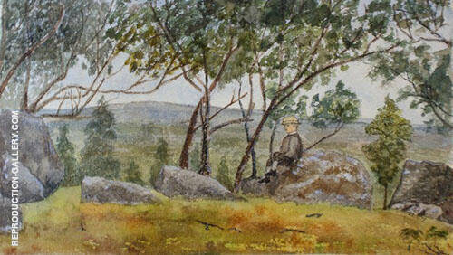 Boy Sitting on Rock in The Harkaway Landscape 1879 By Emma Minnie Boyd