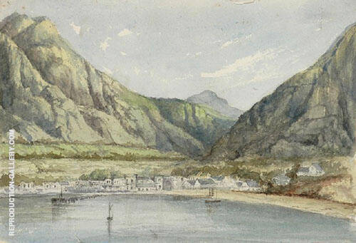 Lakeside Village and Mountains By Emma Minnie Boyd