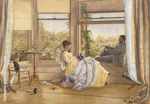 Interior with Figures The Grange 1875 By Emma Minnie Boyd
