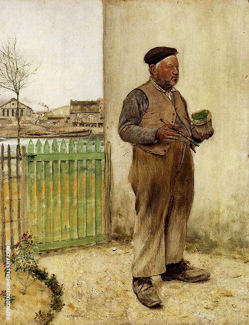 Man Having Just Painted his Fence By Jean Francois Rafaelli