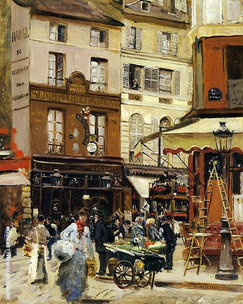 Rue de Montmartre 1900 Painting By Jean Francois Rafaelli