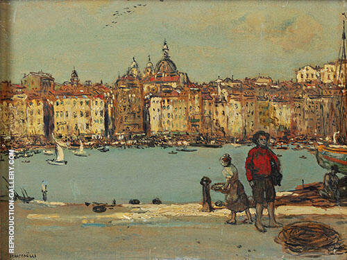 View of an Italian Port By Jean Francois Rafaelli