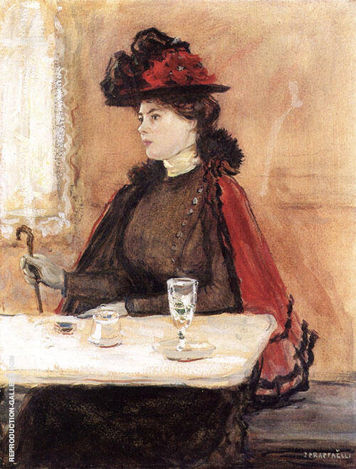 Young Woman at Cafe Painting By Jean Francois Rafaelli
