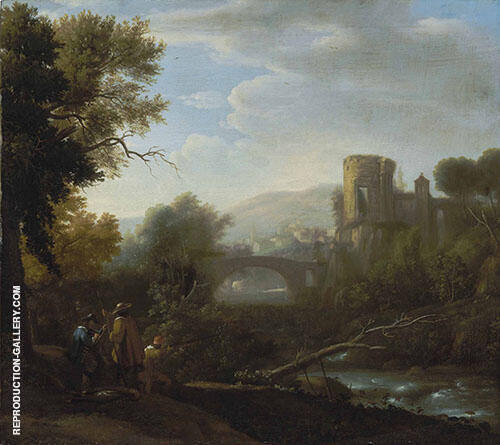 Landscape with Tivoli and The Temple of Vesta Hunters and an Artist Sketching in The Foreground By Claude Lorrain