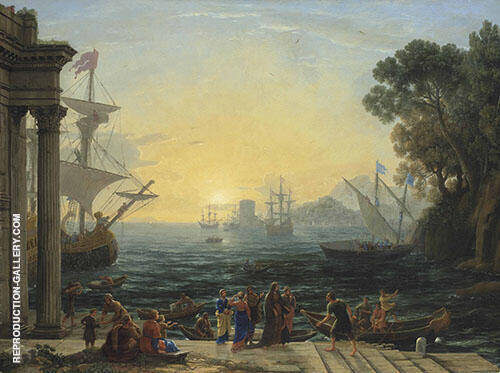 A Mediterranean Port at Sunrise with The Embarkation of Saint Paula for Jerusalem By Claude Lorrain