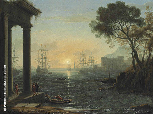 A Mediterranean Port at Sunset By Claude Lorrain