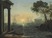 A Mediterranean Port at Sunset By Claude Lorrain