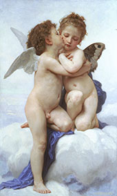 First Kiss, Amor and Psyche, Children 1890 By William-Adolphe Bouguereau