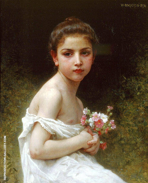 Little Girl with A Bouquet By William-Adolphe Bouguereau