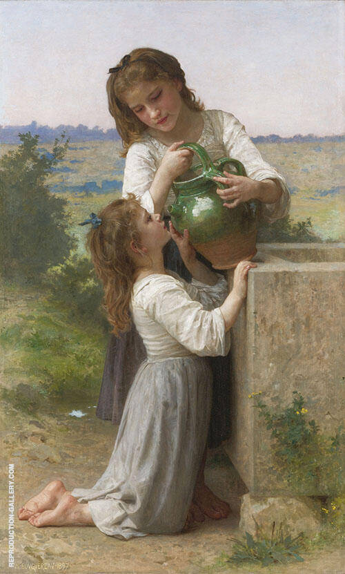 At The Fountain 1897 By William-Adolphe Bouguereau