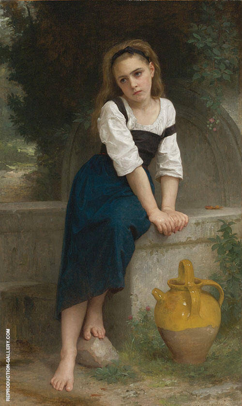 Orphan by The Fountain 1883 By William-Adolphe Bouguereau