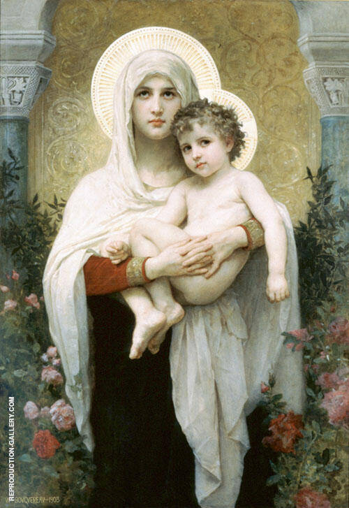 The Madonna of The Roses 1903 Painting By William-Adolphe Bouguereau