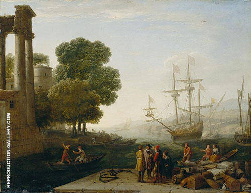 A Seaport At Sunset By Claude Lorrain