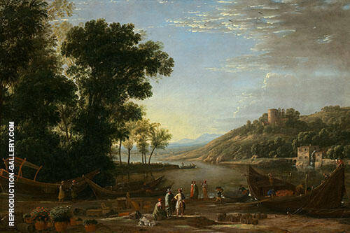 Landscape with Merchants 1630 Painting By Claude Lorrain