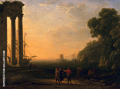 View of Seaport Painting By Claude Lorrain - Reproduction Gallery