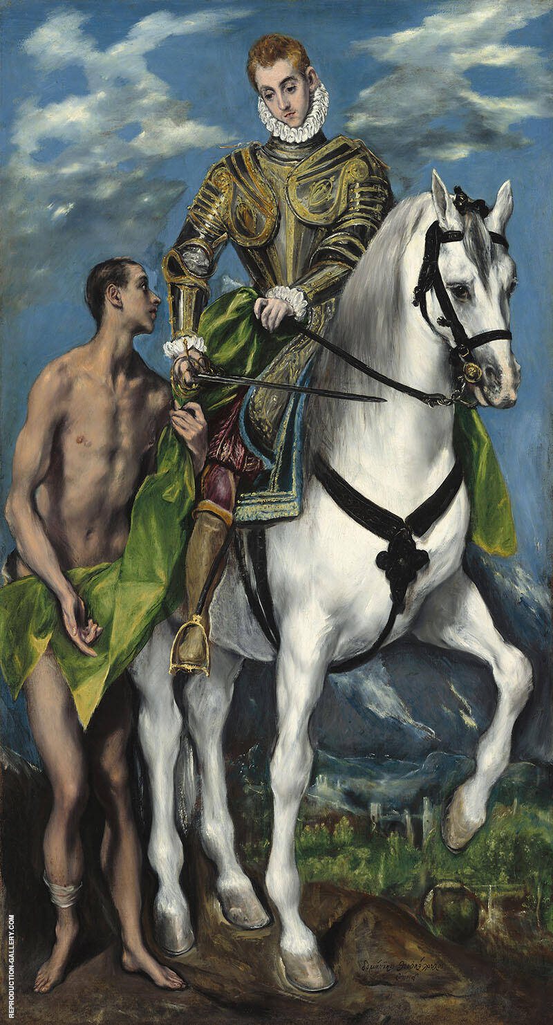 Saint Martin and the Beggar c1599 Painting By El Greco