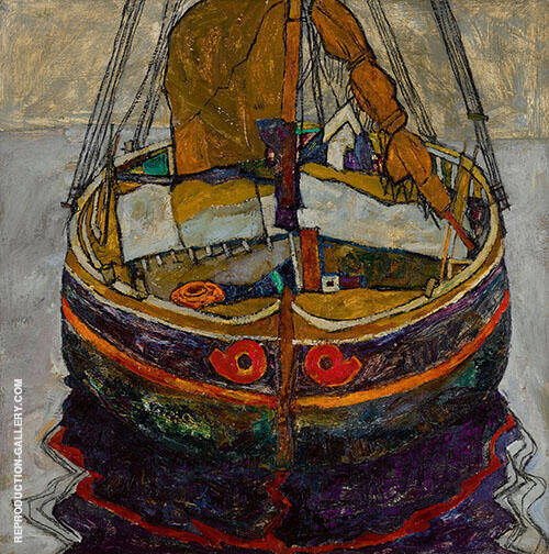 Triestiner Fischerboot Trieste Fishing Boat 1918 Painting By Egon Schiele