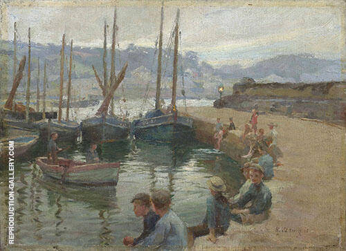 Boys on The Harbour Wall By Harold Harvey