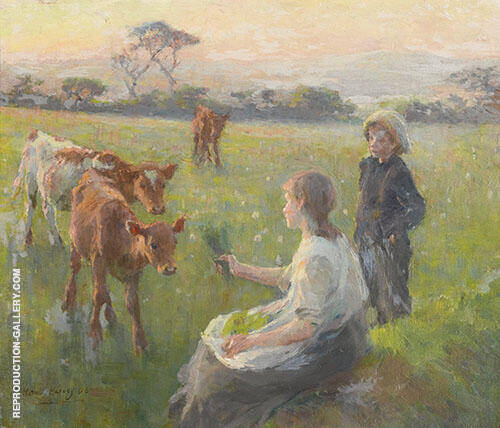 Feeding The Calves By Harold Harvey